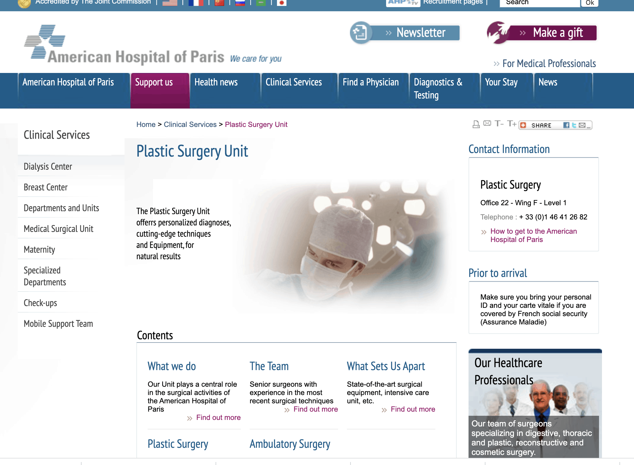 American Hospital of Paris Plastic Surgery Unit - Cc Best Cosmetic Surgery Clinics In Paris