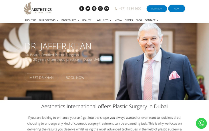 Aesthetics International – Dr. Jaffer Khan. Dubai - Best Cosmetic Surgery Clinics In Dubai